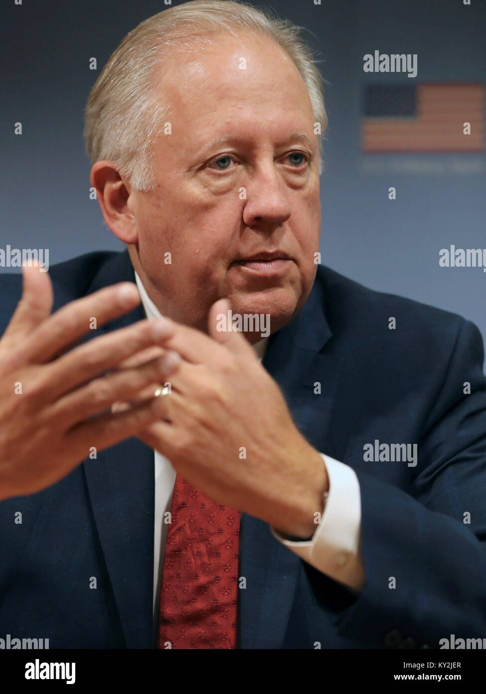 Madrid, Spain. 12th Jan, 2018. US Under Secretary of State Thomas Shannon attends a press conference at Colombian - Stock Image