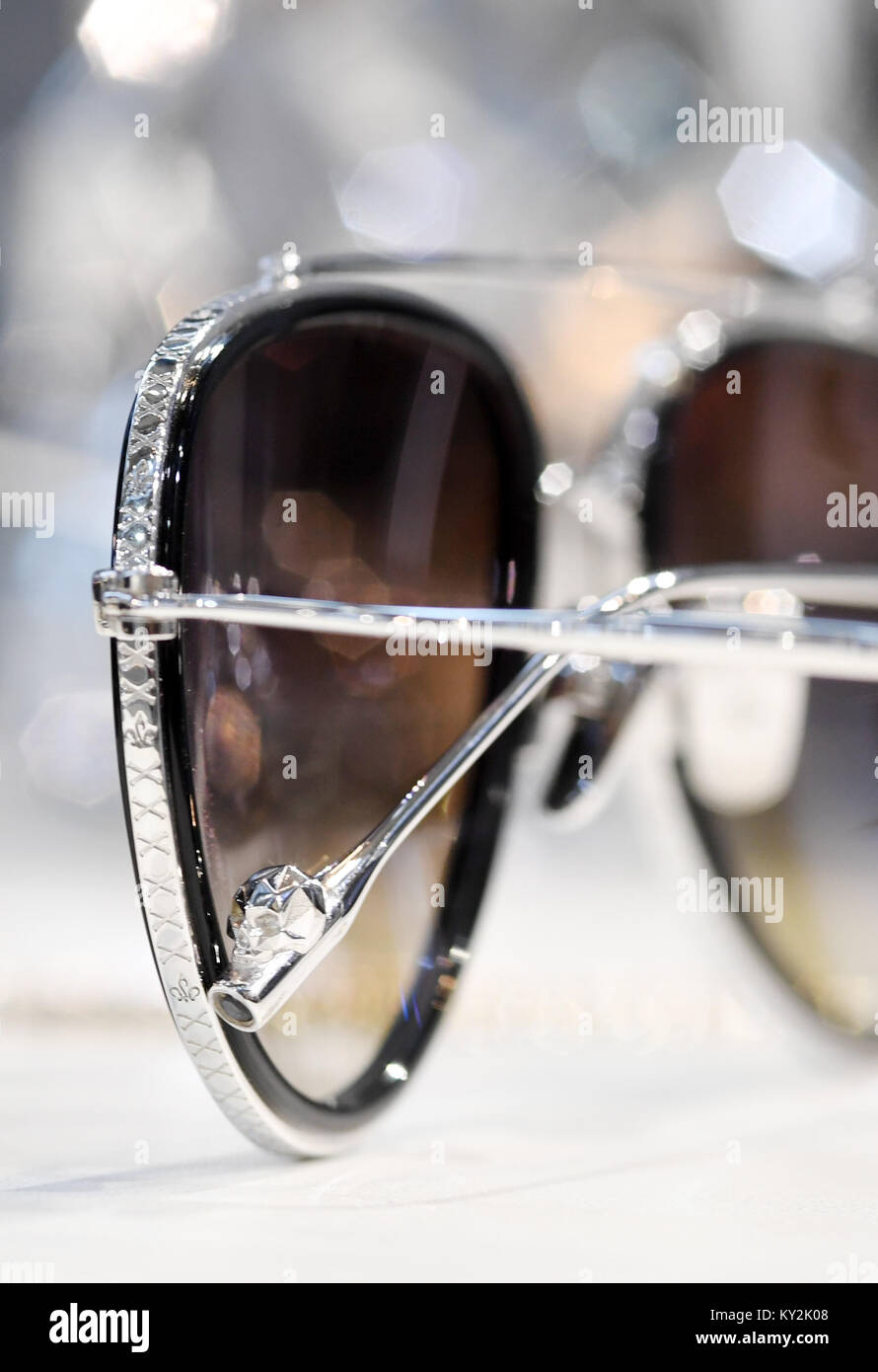 Munich, Germany. 12th Jan, 2018. A limited pair of luxury glasses, with a black diamond on the end of the frames, Stock Photo