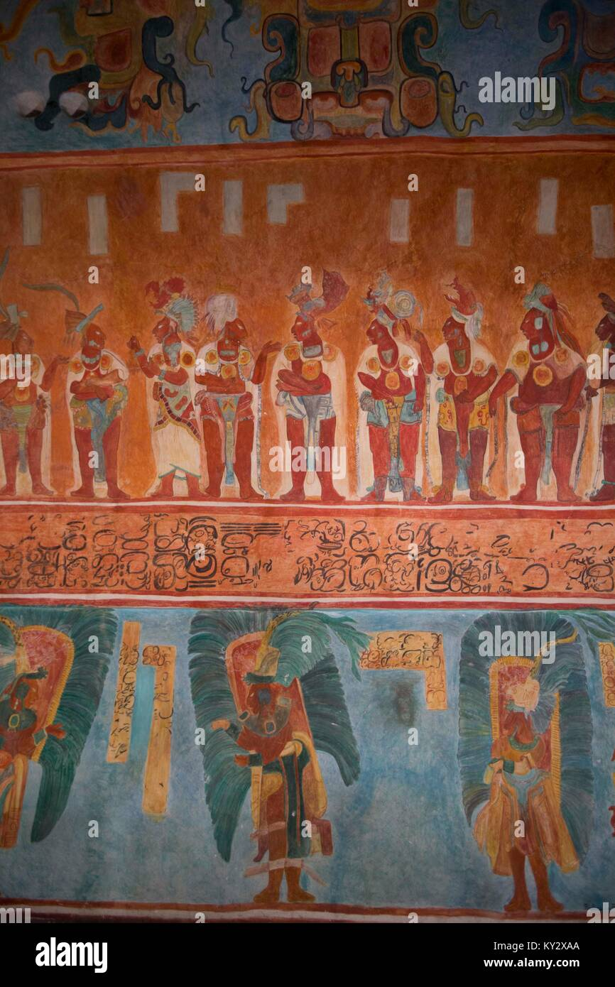 Room 1 (Reproduction), Bonampak, National Museum of Anthropology, Mexico City, Mexico - Stock Image