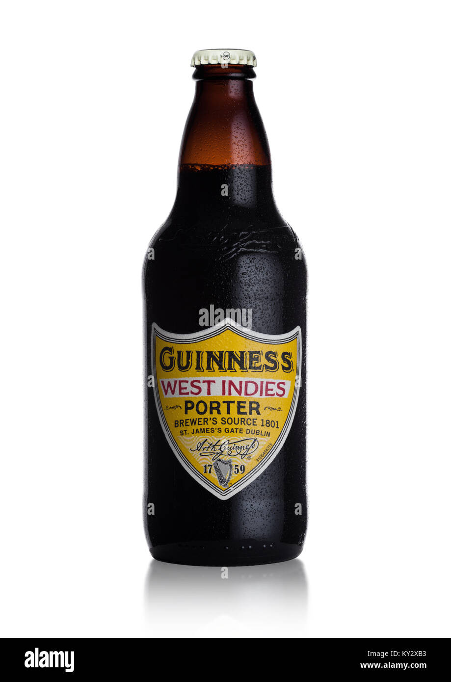 LONDON, UK - JANUARY 02, 2018:  Bottle of Guinness west indies porter beer on white background. Guinness beer has - Stock Image
