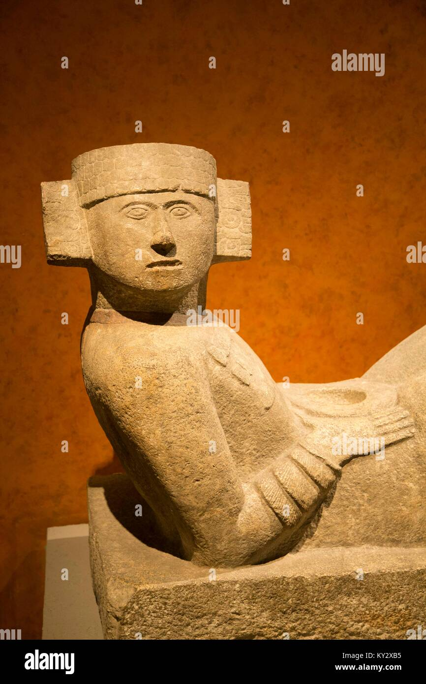 Chac-Mool from Chichen Itza, National Museum of Anthropology, Mexico City, Mexico - Stock Image