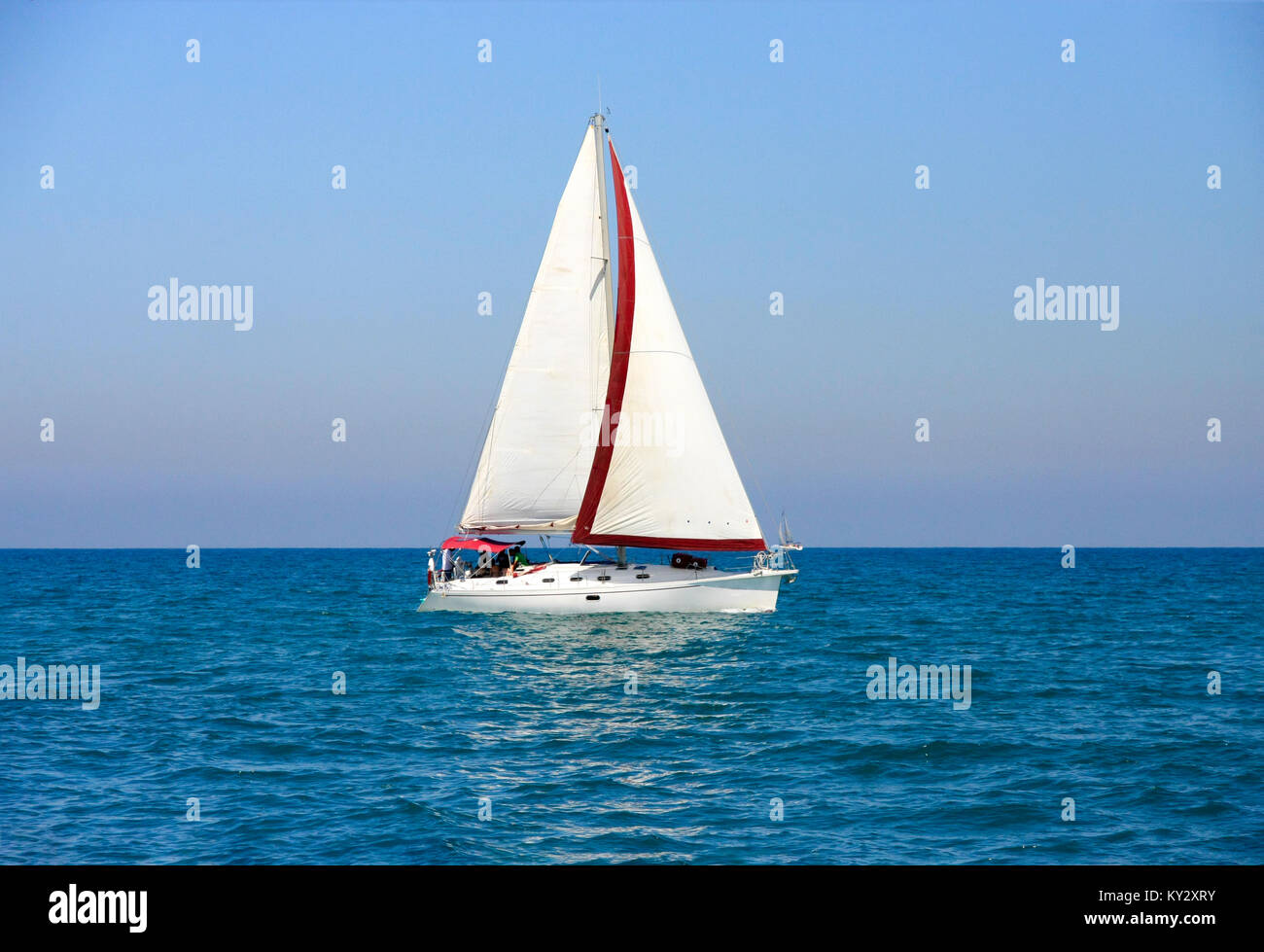 Israel, a yacht in the Mediterranean sea - Stock Image