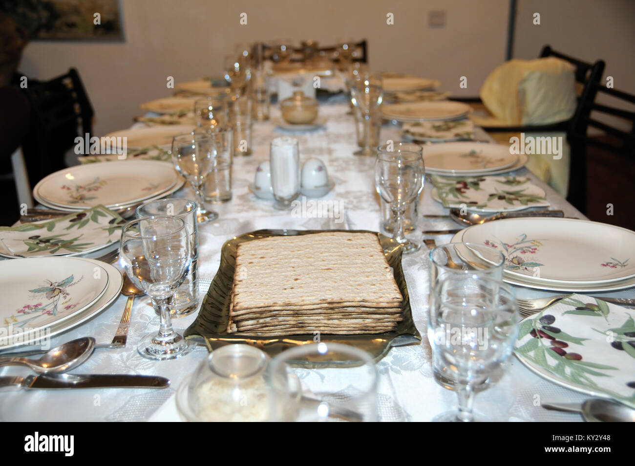 Table set for a Jewish Festive meal on Passover (transliterated as Pesach or Pesah), also called chag HaMatzot  - Stock Image