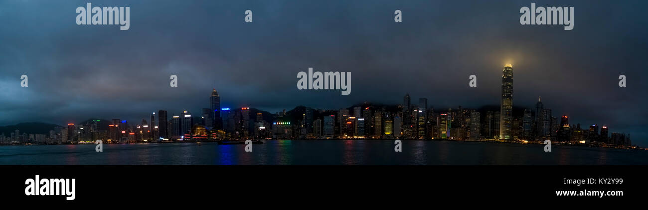 Asia, Southeast, People's Republic of China, Hong Kong, A panorama of Hong Kong island from Kowloon peninsula - Stock Image