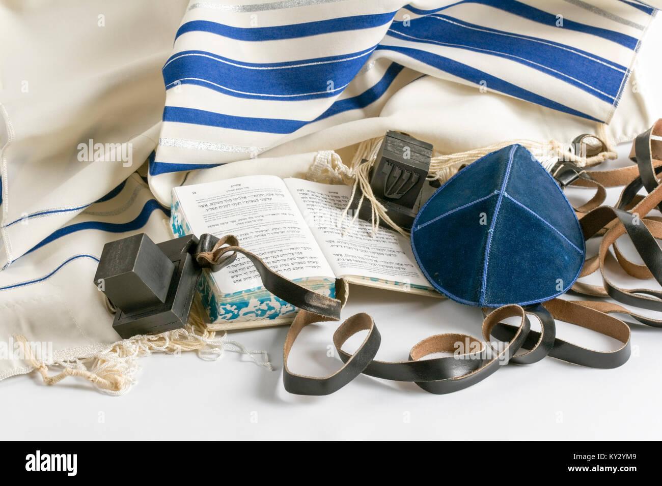 Teffilin, Talith and Sidur for Jewish ritual - Stock Image
