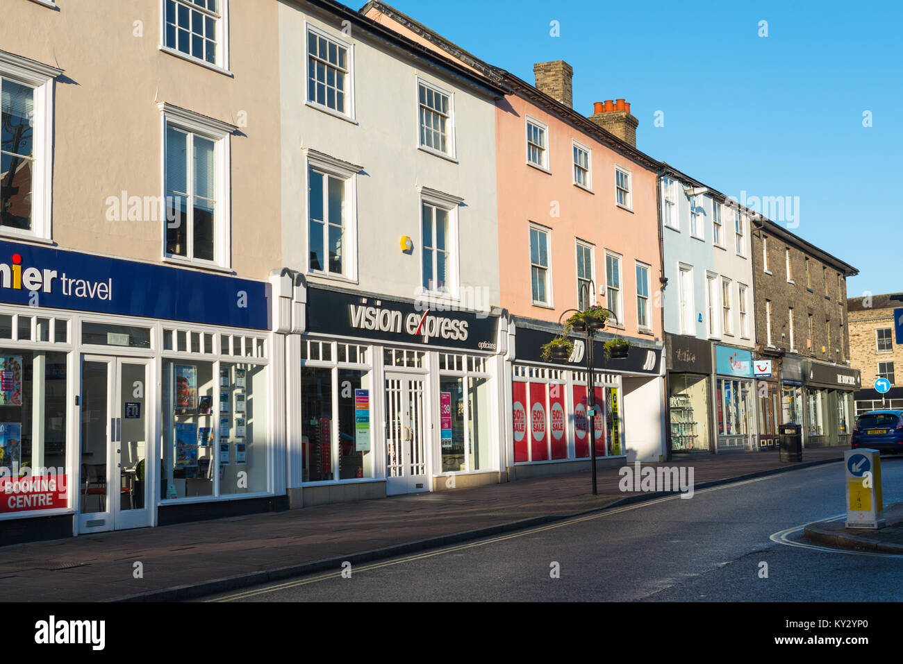 Shopfronts along Buttermarket in Bury St Edmunds town centre. Suffolk, East Anglia, England, UK - Stock Image