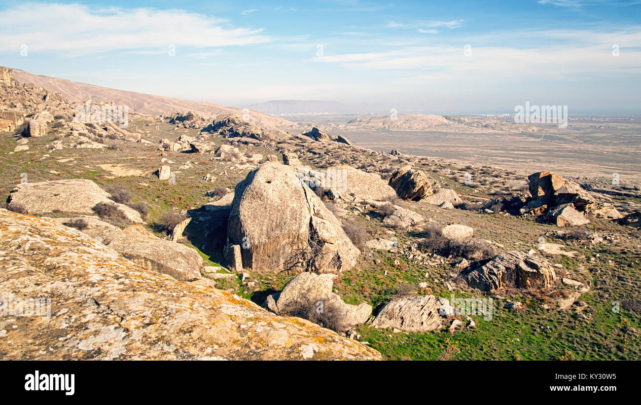 'Martian' landscape with chalk-stone rocks in the Gobustan National Park, Azerbaijan - Stock Image