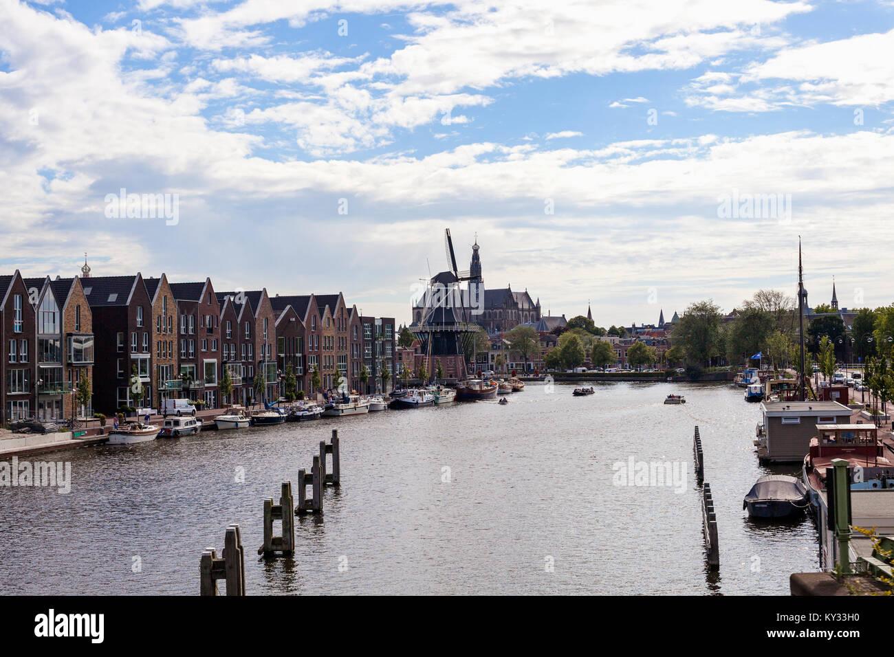 Haarlem, Netherlands. De Adriaan, landmark windmill in the centre of Haarlem on the Spaarne river - Stock Image