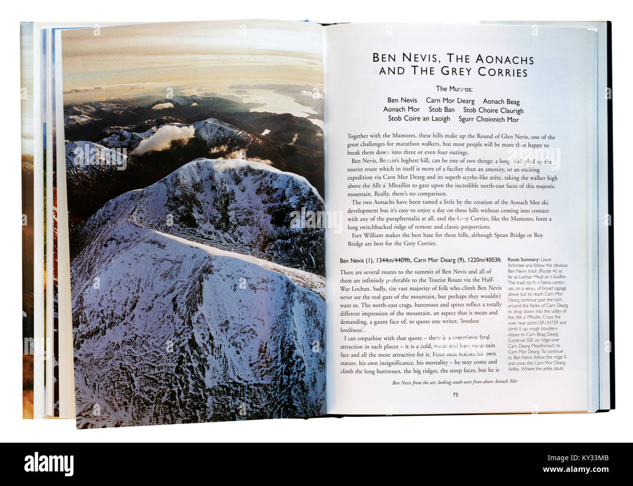 Guidebook to hillwalking Scottish Highlands, showing the page for Ben Nevis - Stock Image