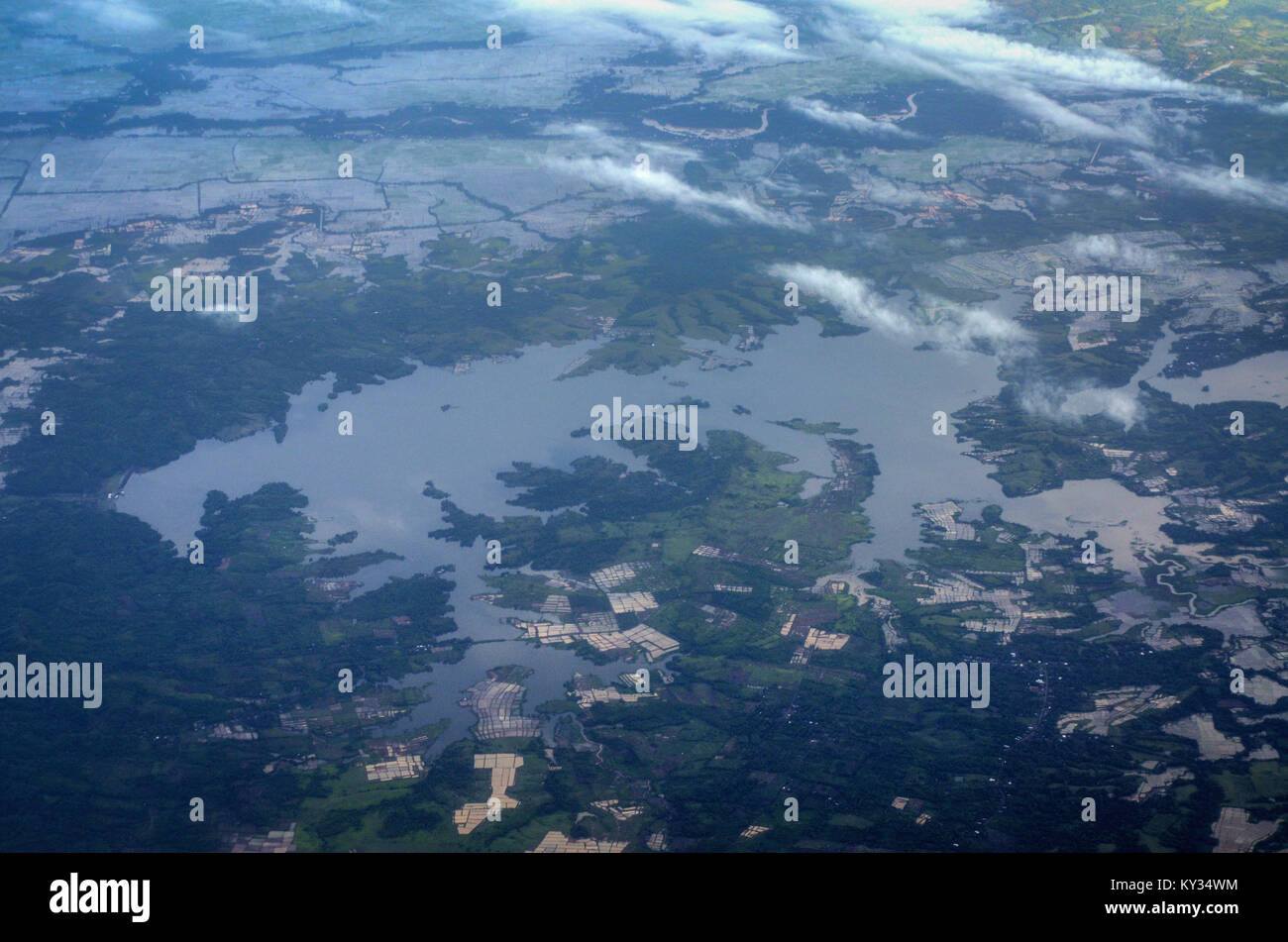 Lake Tempe (danau Tempe) during dry seaon as seen from airplane window. - Stock Image