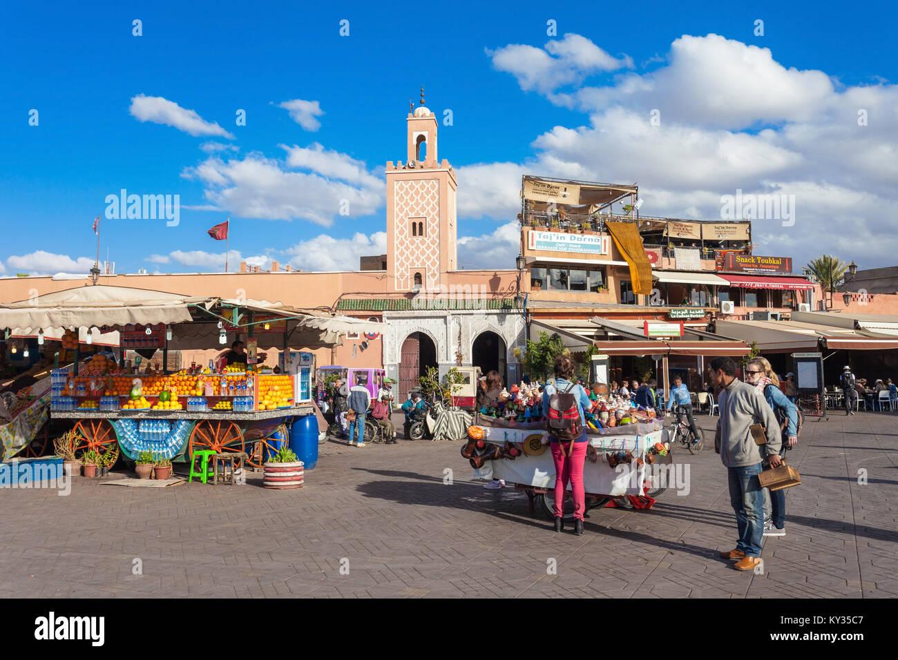 MARRAKECH, MOROCCO - FEBRUARY 22, 2016: Jemaa el Fna (also Jemaa el-Fnaa, Djema el-Fna or Djemaa el-Fnaa) is a square Stock Photo