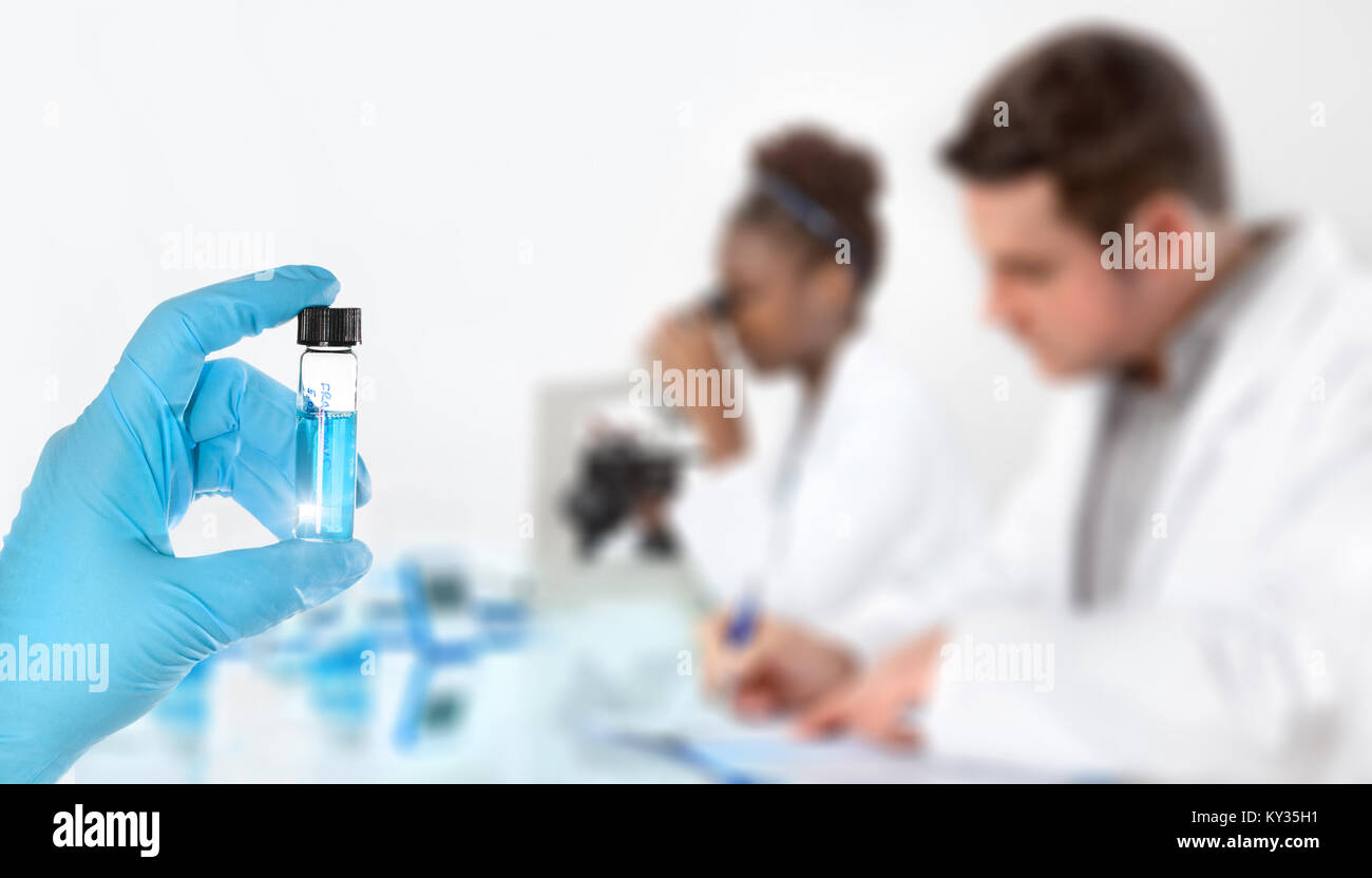 Modern science background. Hand in blue glove with sample, working scientists out of focus, text space - Stock Image