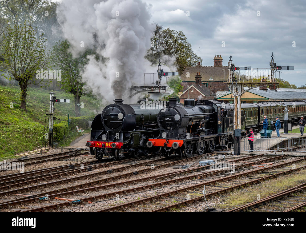 SR Maunsell Locos at Horsted Keynes - Stock Image
