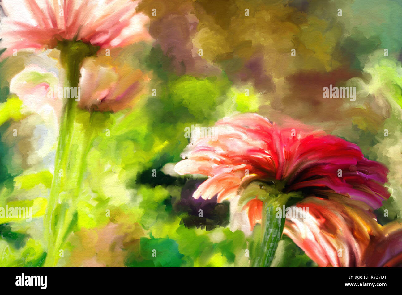 Spring Watercolor Art Red Flowers On Green Background