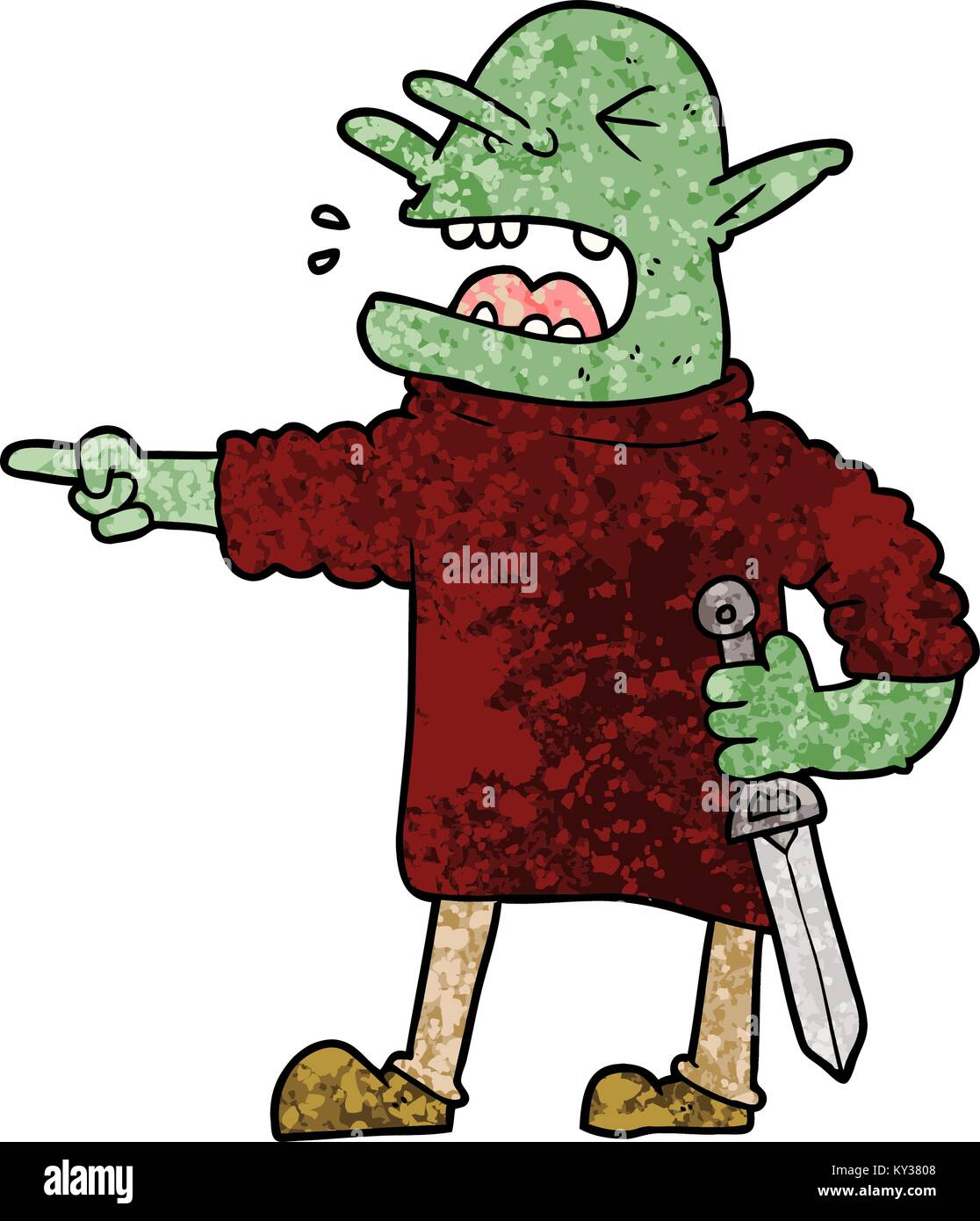 cartoon goblin with knife - Stock Image