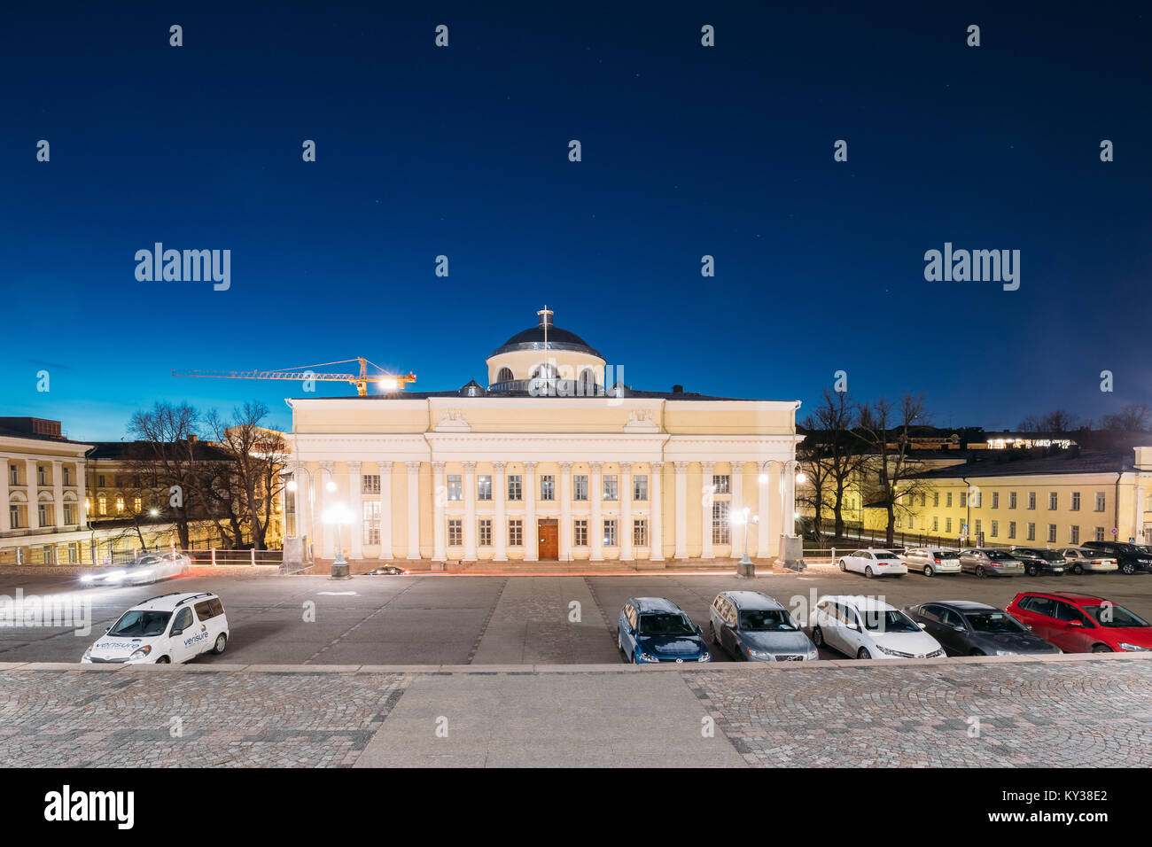 Helsinki, Finland - December 9, 2016: The National Library Of Finland In Lighting At Evening Or Night Illumination. - Stock Image