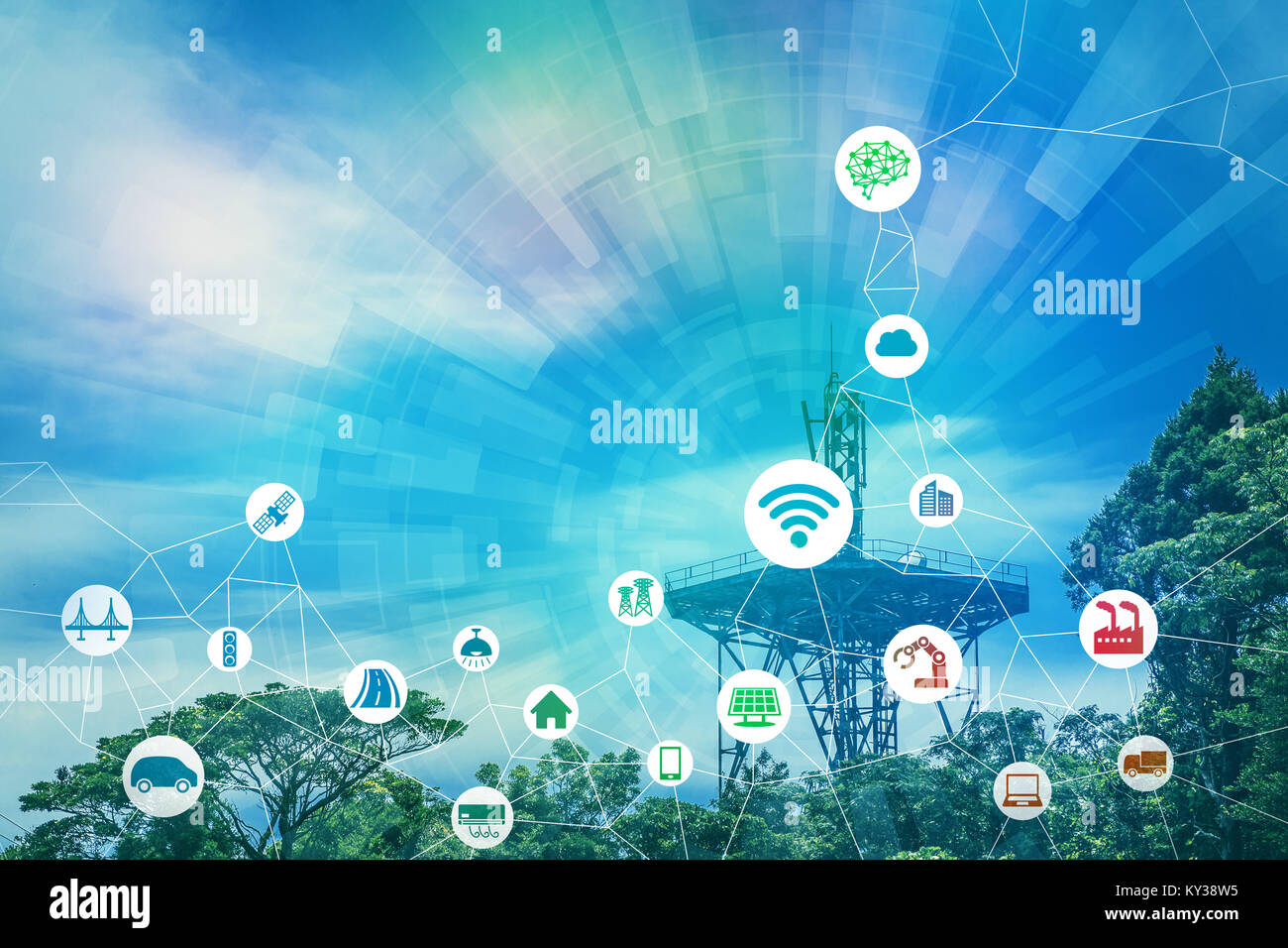 Wireless communication network and various industry concept. - Stock Image