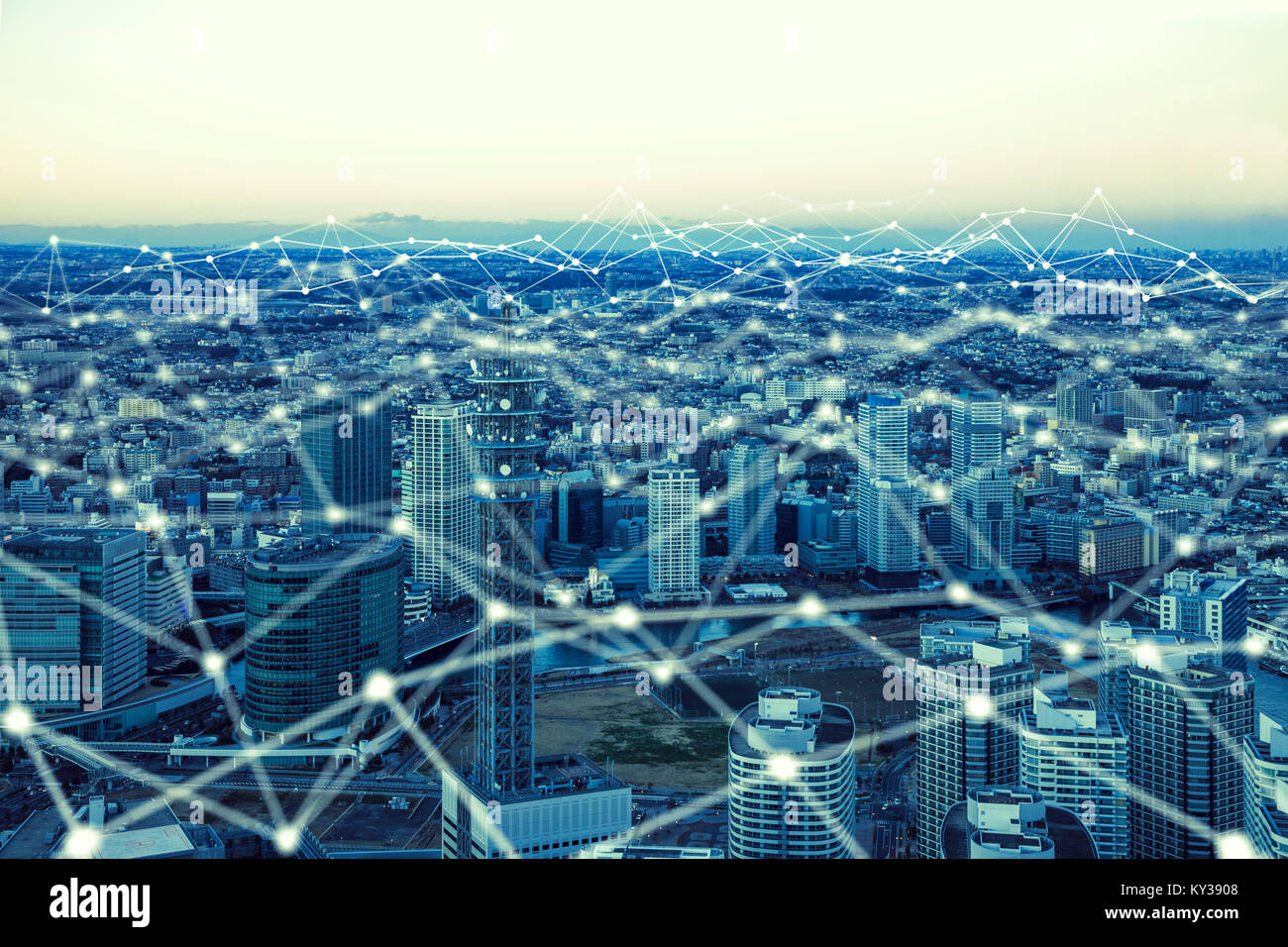 Communication network and modern buildings. Stock Photo