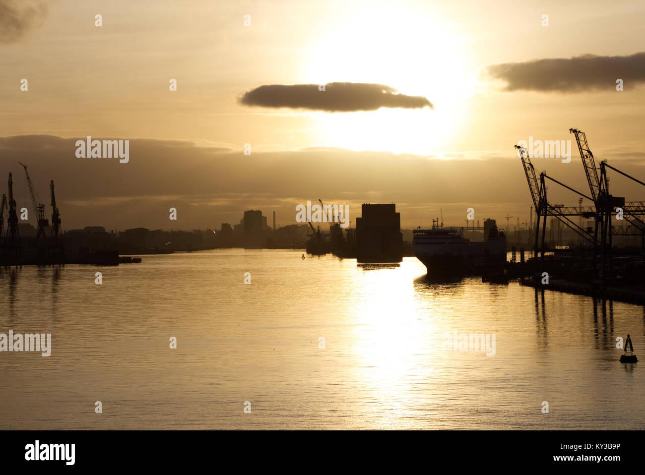belfast heabour at sunset Stock Photo