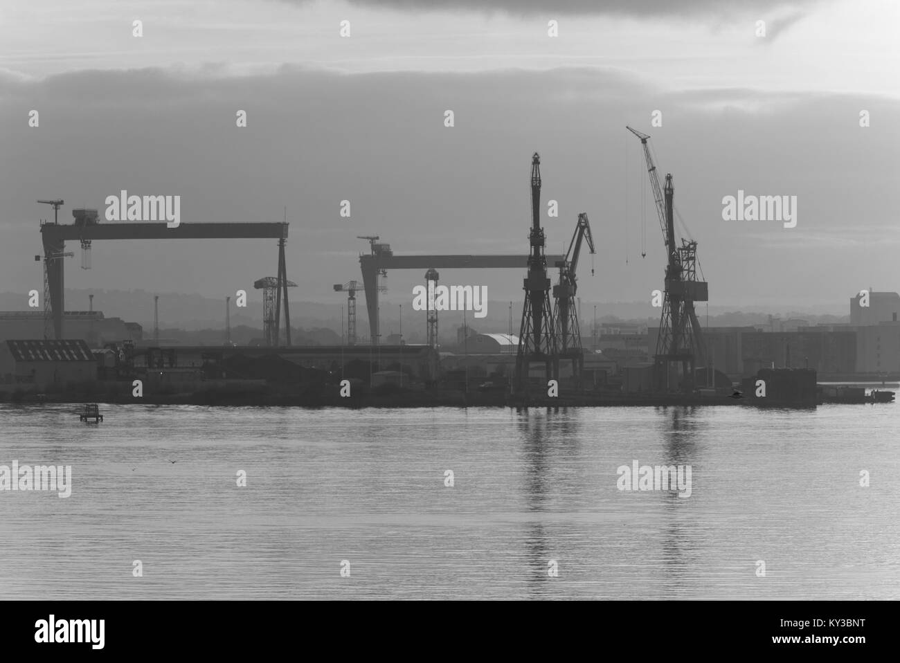 belfast heabour at sunset - Stock Image