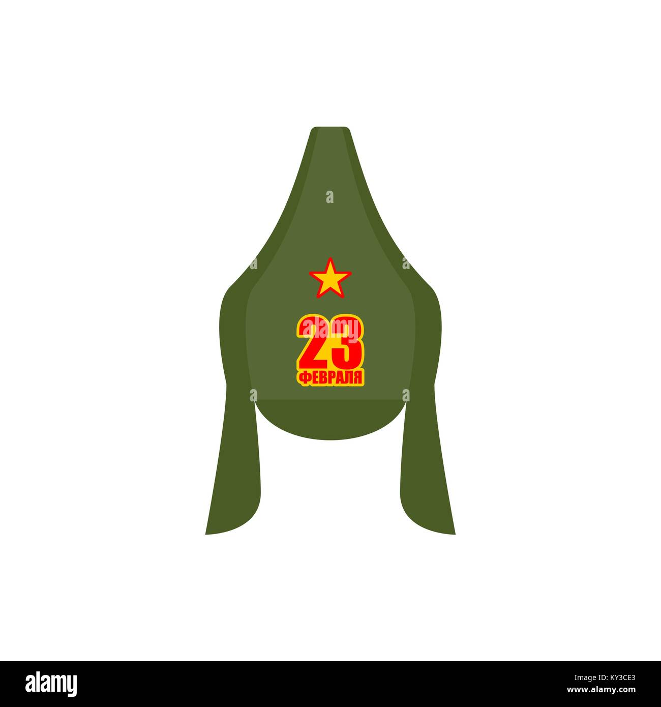 23 February. Defender of Fatherland Day. Budenovka retro cap Russian communist soldier isolated. Vintage hat Russian Stock Vector
