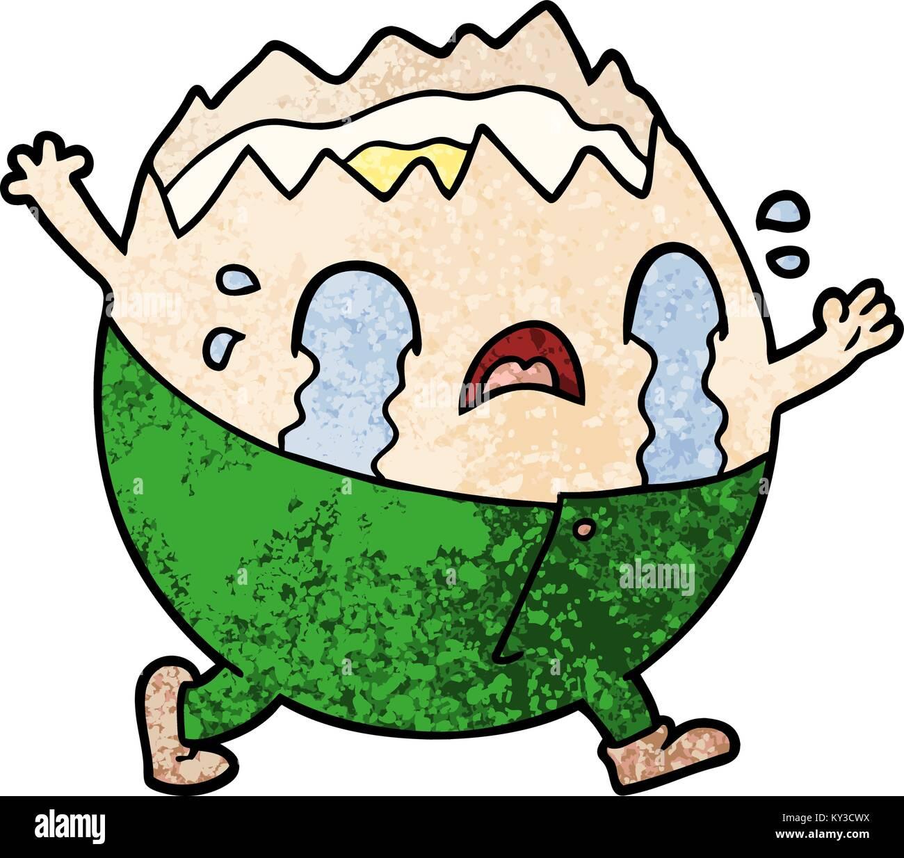 humpty dumpty cartoon egg man crying Stock Vector