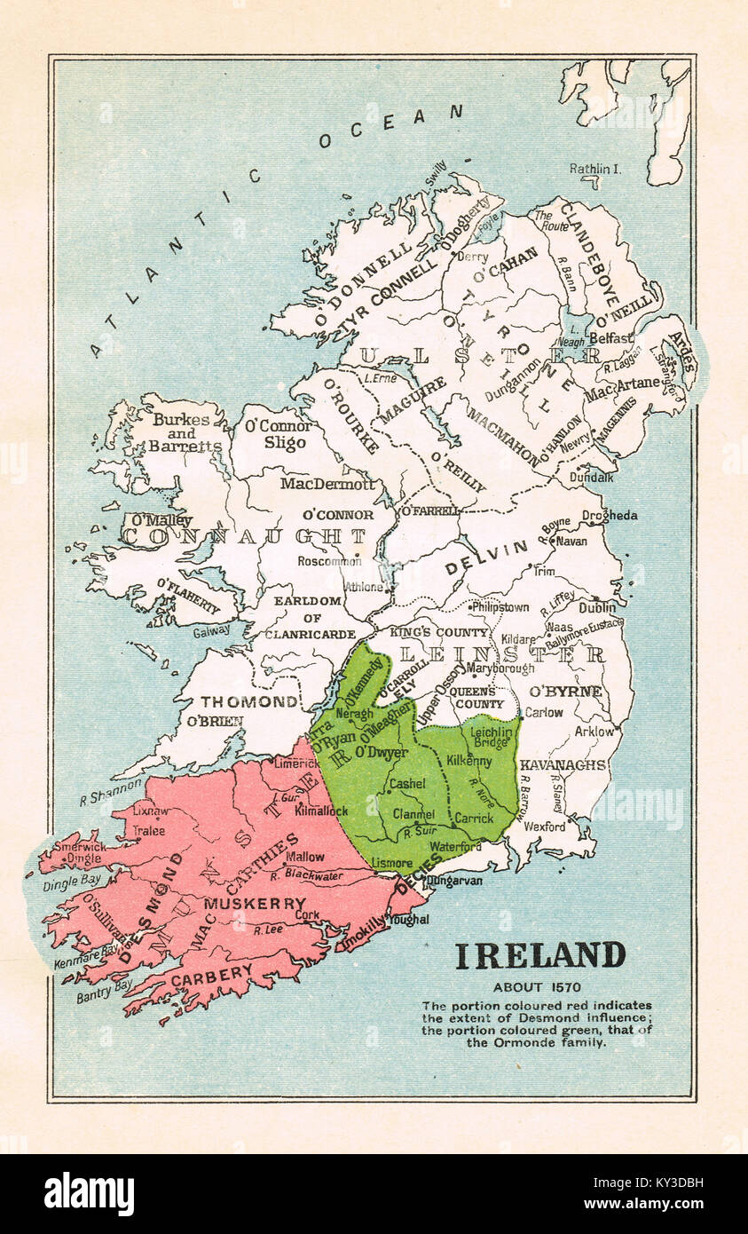 Map of Ireland, circa 1570 showing the influence of the Desmond (In Red) and Ormond families (in Green) about 1570 - Stock Image