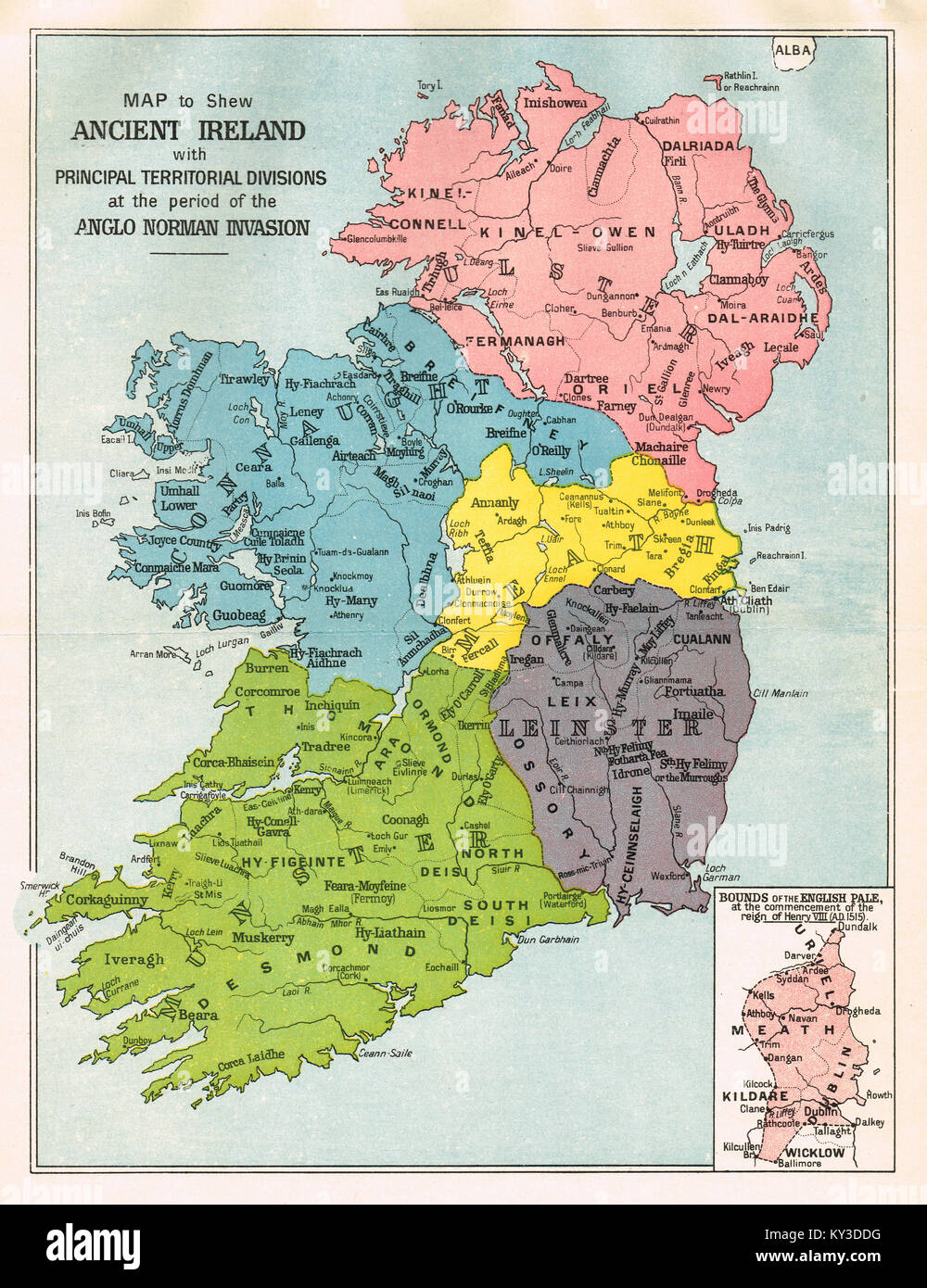 Map of Ireland, at the period of the Anglo Norman invasion - Stock Image