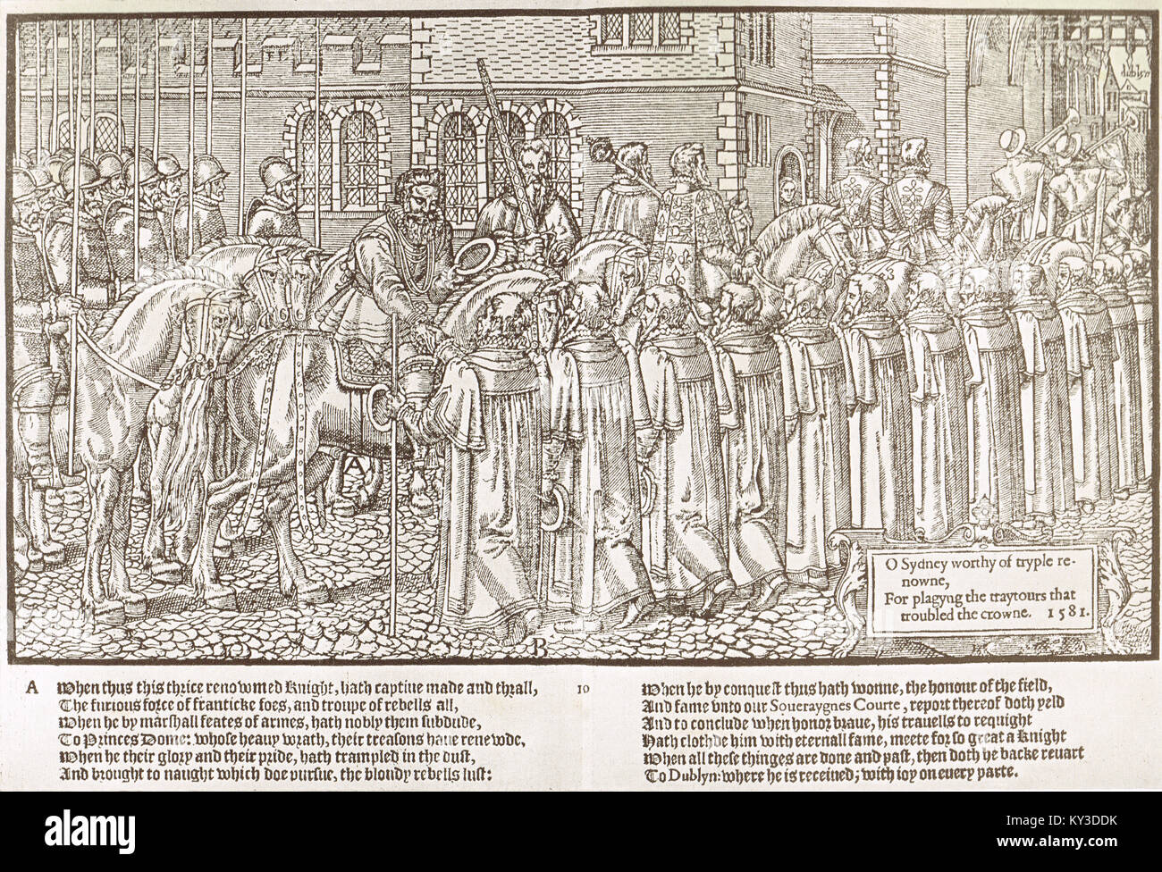 The reception of Sir Henry Sidney by the mayor and aldermen of Dublin after a victory circa 1578 - Stock Image