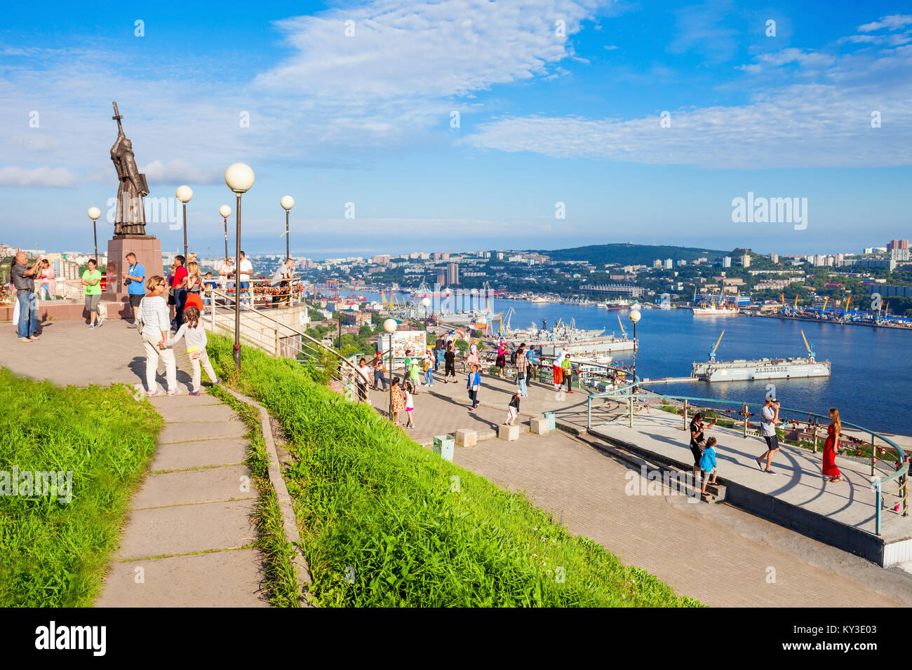 VLADIVOSTOK, RUSSIA - JULY 17, 2016: Chapel and Monument of Cyril and Methodius, Educators and creators of the Slavic - Stock Image