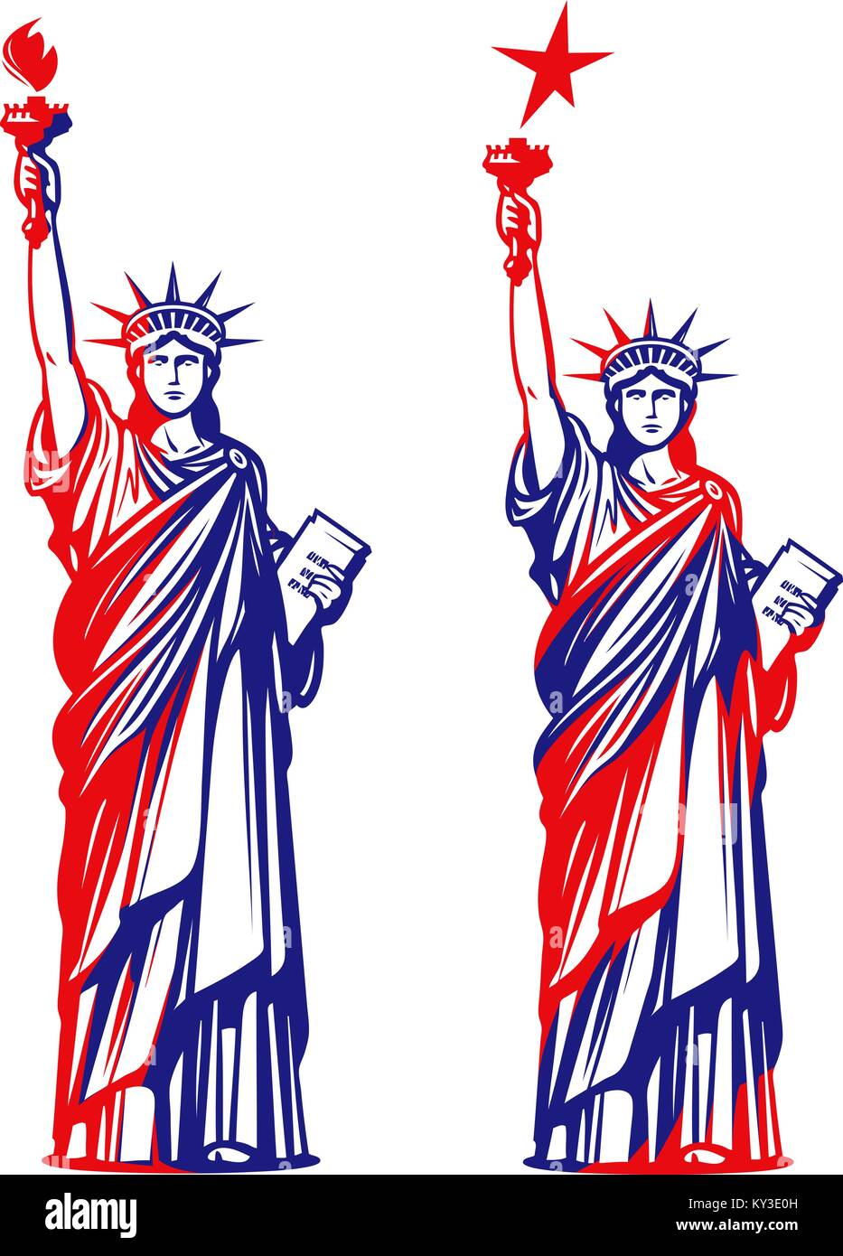 Statue of liberty, freedom. USA symbol or icon. Vector illustration Stock Vector