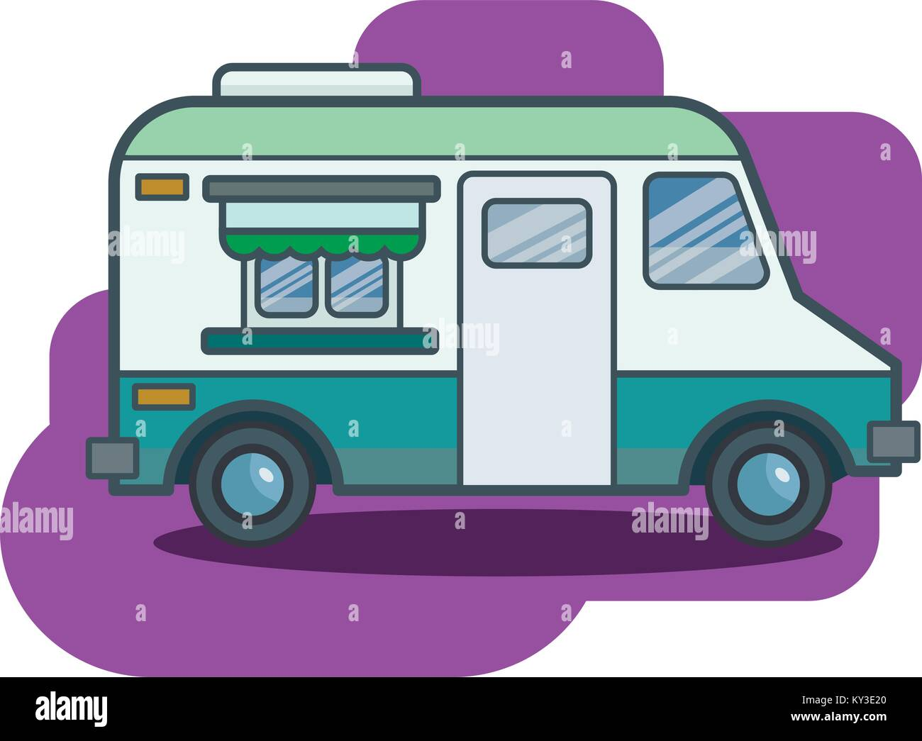 Cute Retro Food Truck Illustration In Flat Cartoon Vector Style
