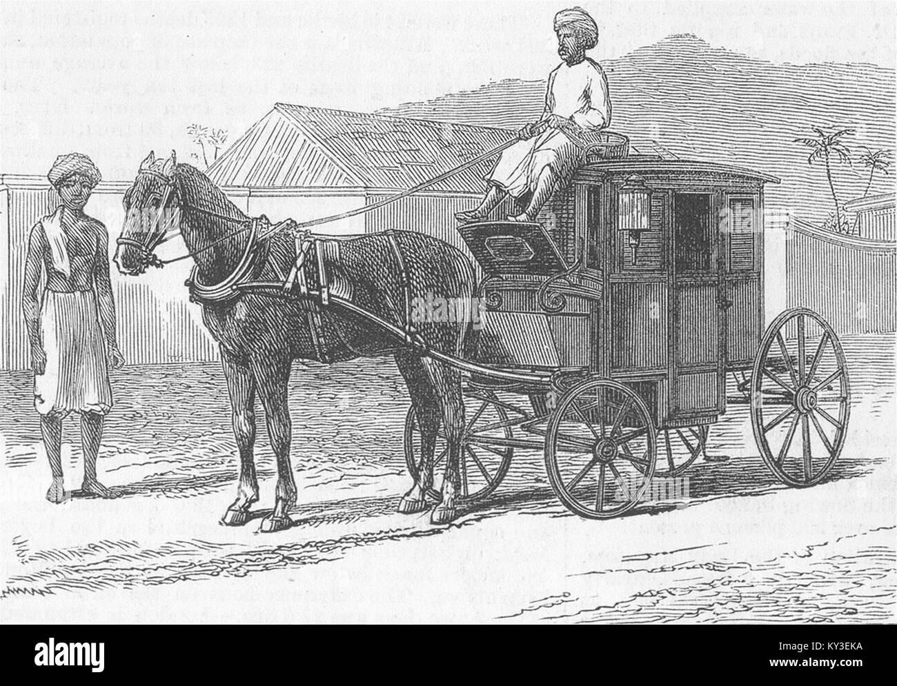 LONDON Hackney Carriage, Chennai 1876. Illustrated London News - Stock Image