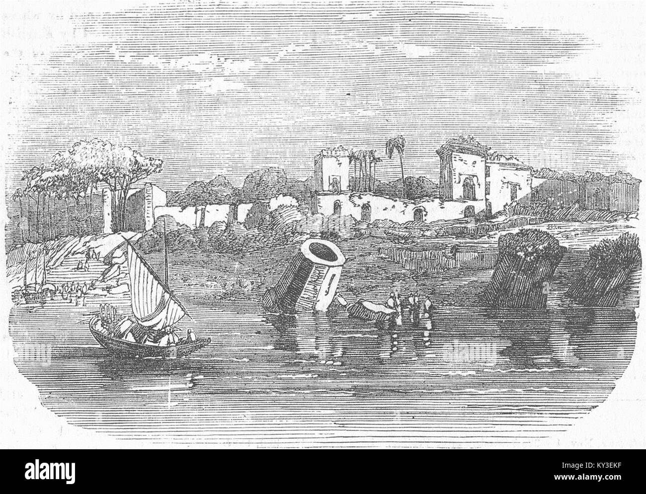 TOWNS Ruins of Mahometan Palace, Raj Mah'l, Ganges 1855. Illustrated London News - Stock Image