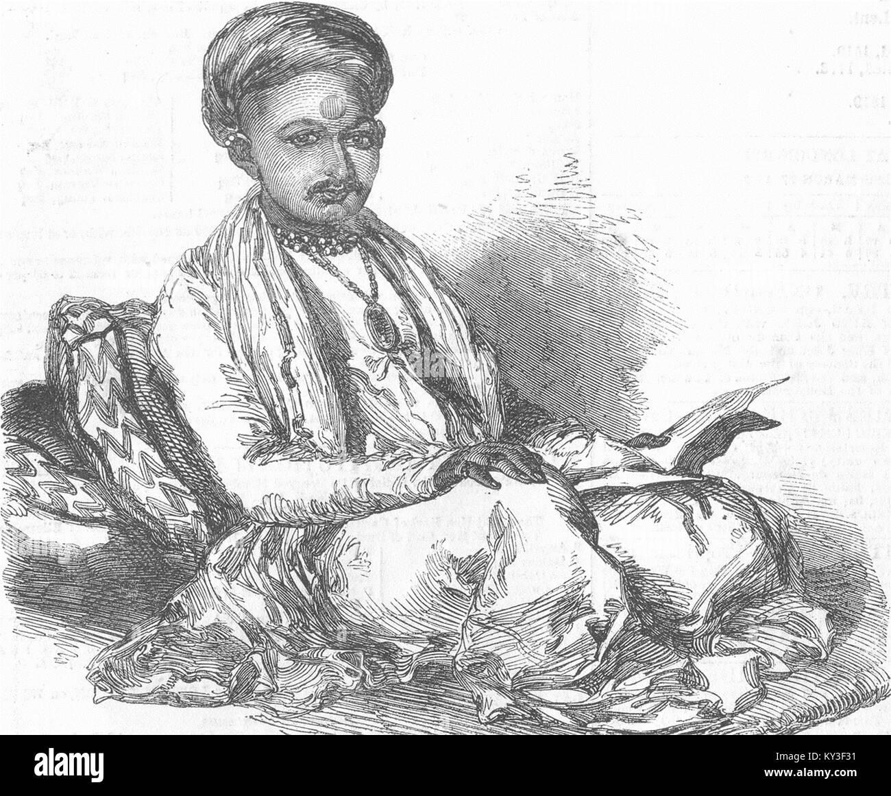 INDIA Mougunbhoy Kumemchund, the Banker of Ahmedabad 1852. The Illustrated London News - Stock Image