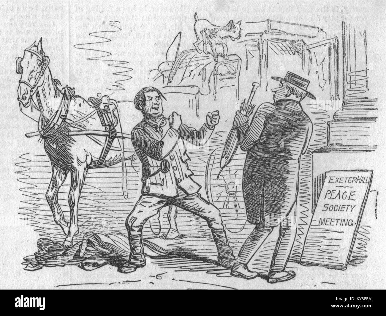 TAXIS London Hackney Carriage Act 1853 Thou hast overcharged me. 1853. Illustrated London News - Stock Image