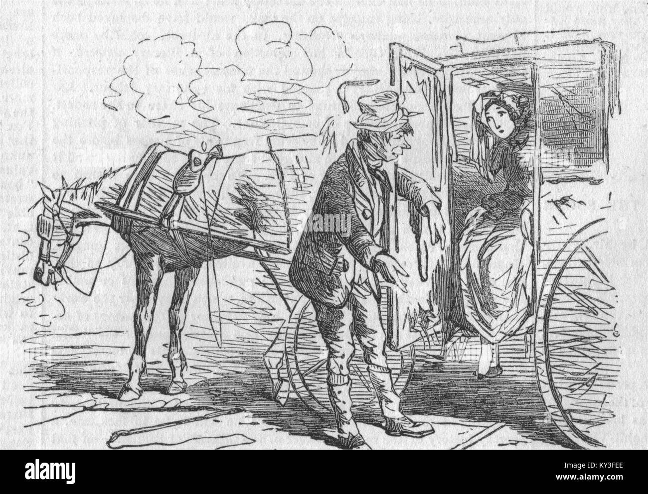TAXIS London Hackney Carriage Act 1853 The Particularly Polite Cabman 1853. Illustrated London News - Stock Image