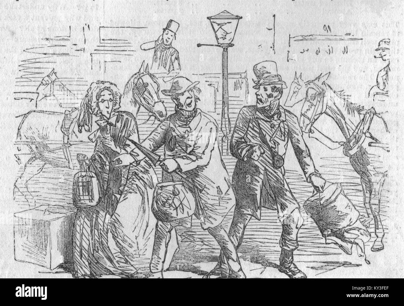 TAXIS London Hackney Carriage Act 1853 The Chivalrous Cabman 1853. Illustrated London News - Stock Image