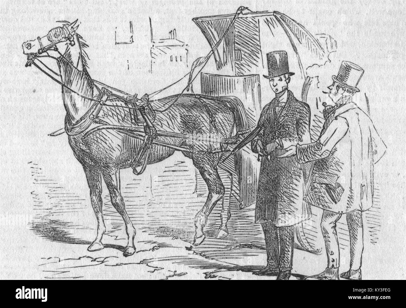 TAXIS London Hackney Carriage Act 1853 The Aristocratic Cabman 1853. Illustrated London News - Stock Image