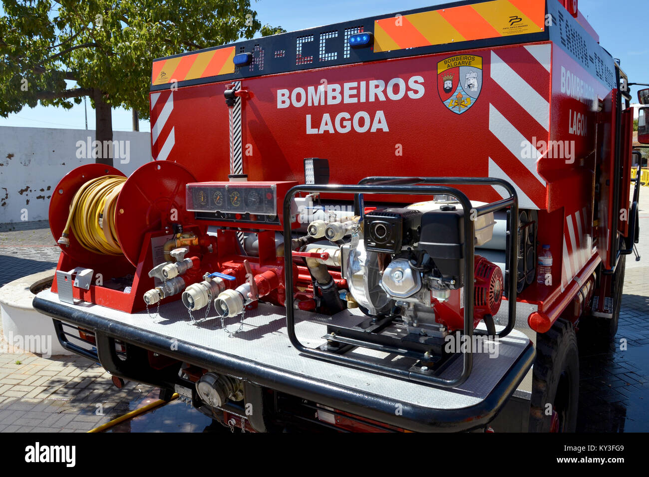 Portugal, Algarve, Lagoa, Circa 04.06.2017. Back of a Brand new Fire engine being displayed in a local international - Stock Image