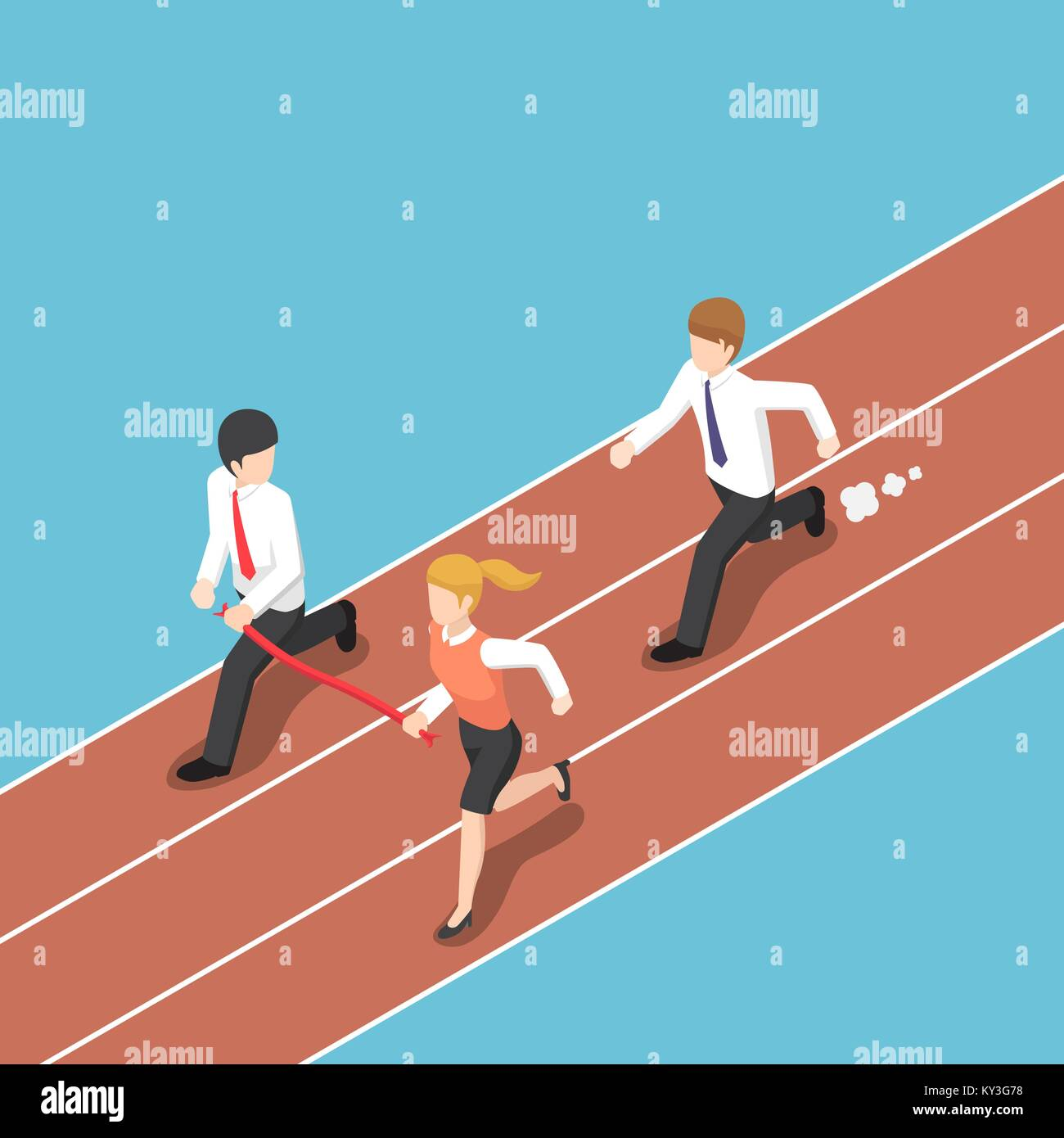 Flat 3d isometric business rival hold finish line away from businessman. Business competition concept. Stock Vector