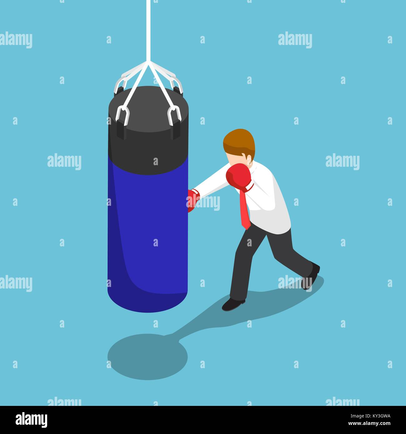 Flat 3d isometric businessman punch the blue punching bag. Business training concept. - Stock Vector