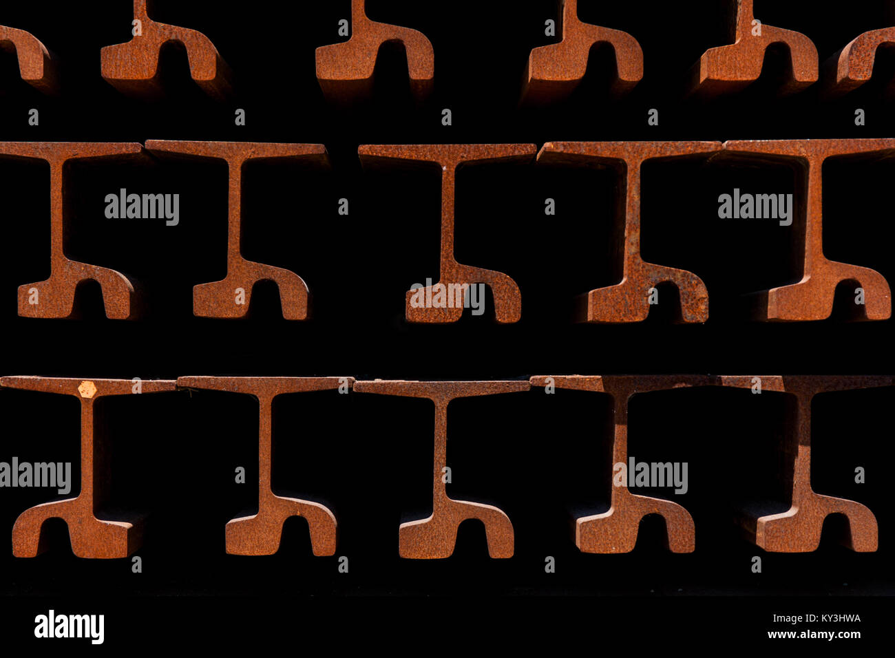 Pile of rusty train tracks - Stock Image