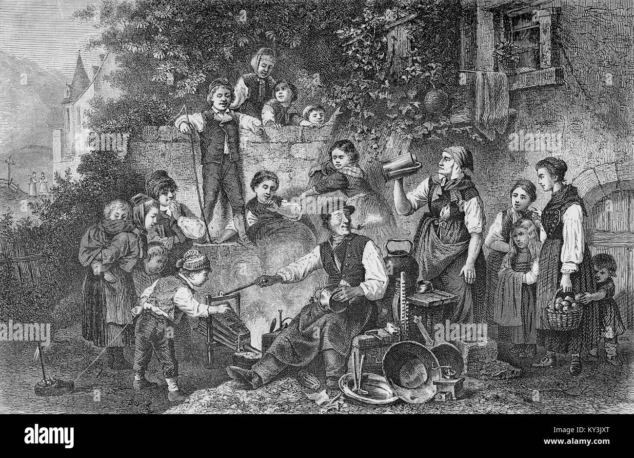 Vintage rural lifestyle; the tinkerer working in a yard surrounded by curious people - Stock Image
