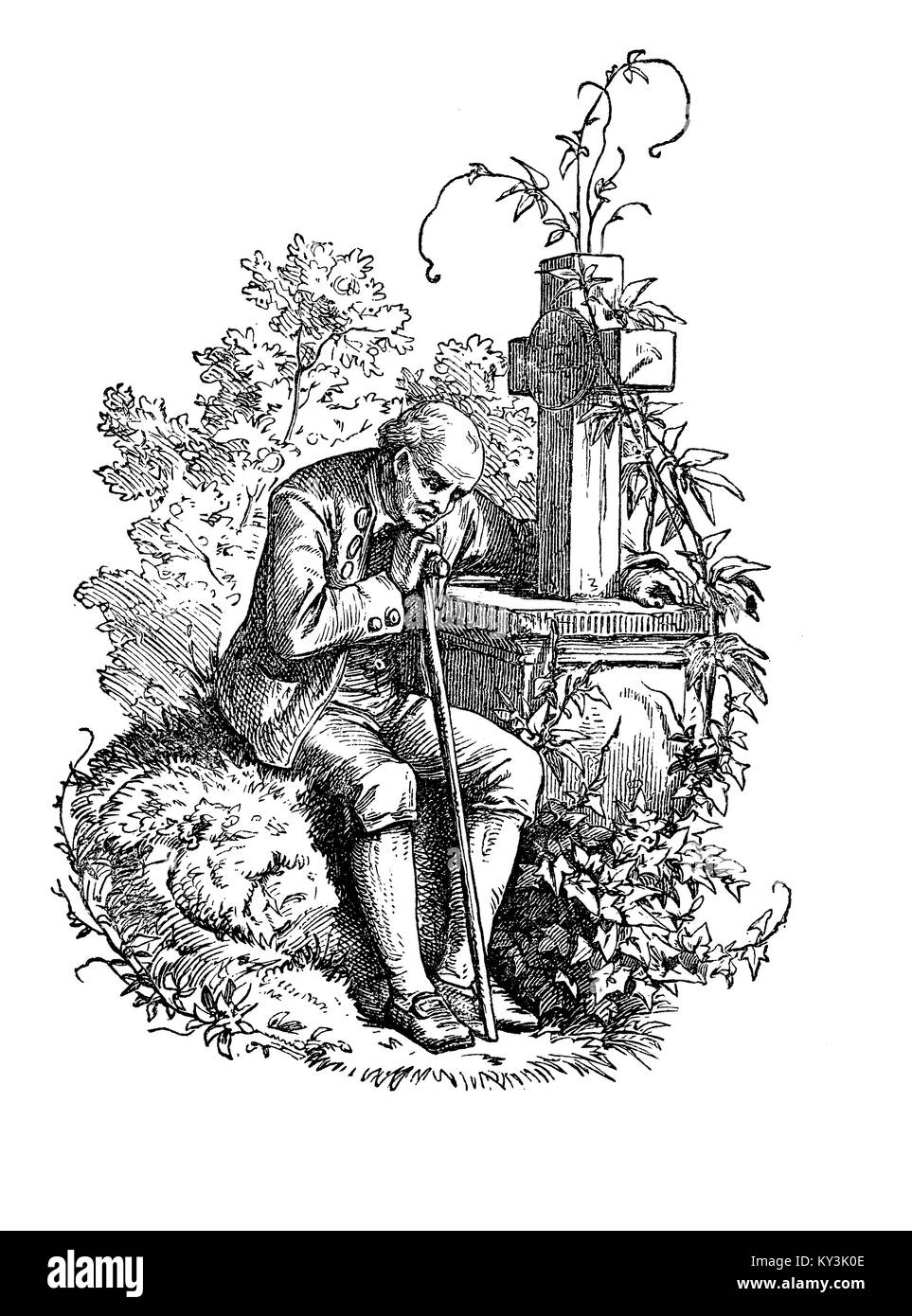 sorrow: eldery vidow on the grave of his death wife, vintage engraving - Stock Image