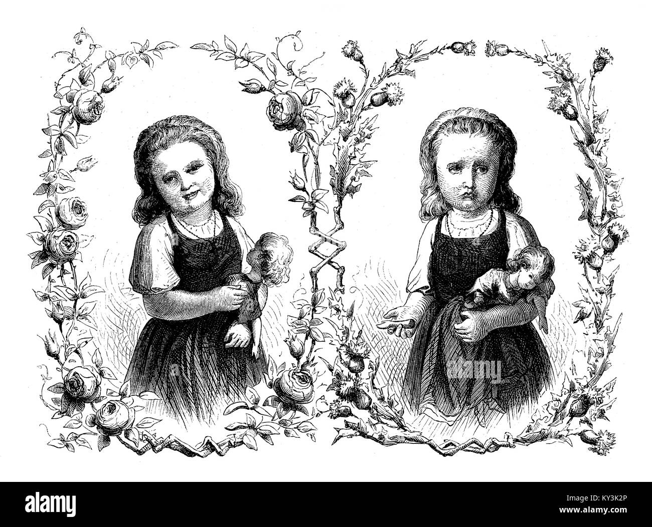 Happiness and affliction:  girl happy with doll, girl sad with doll with broken arm, vintage engraving - Stock Image