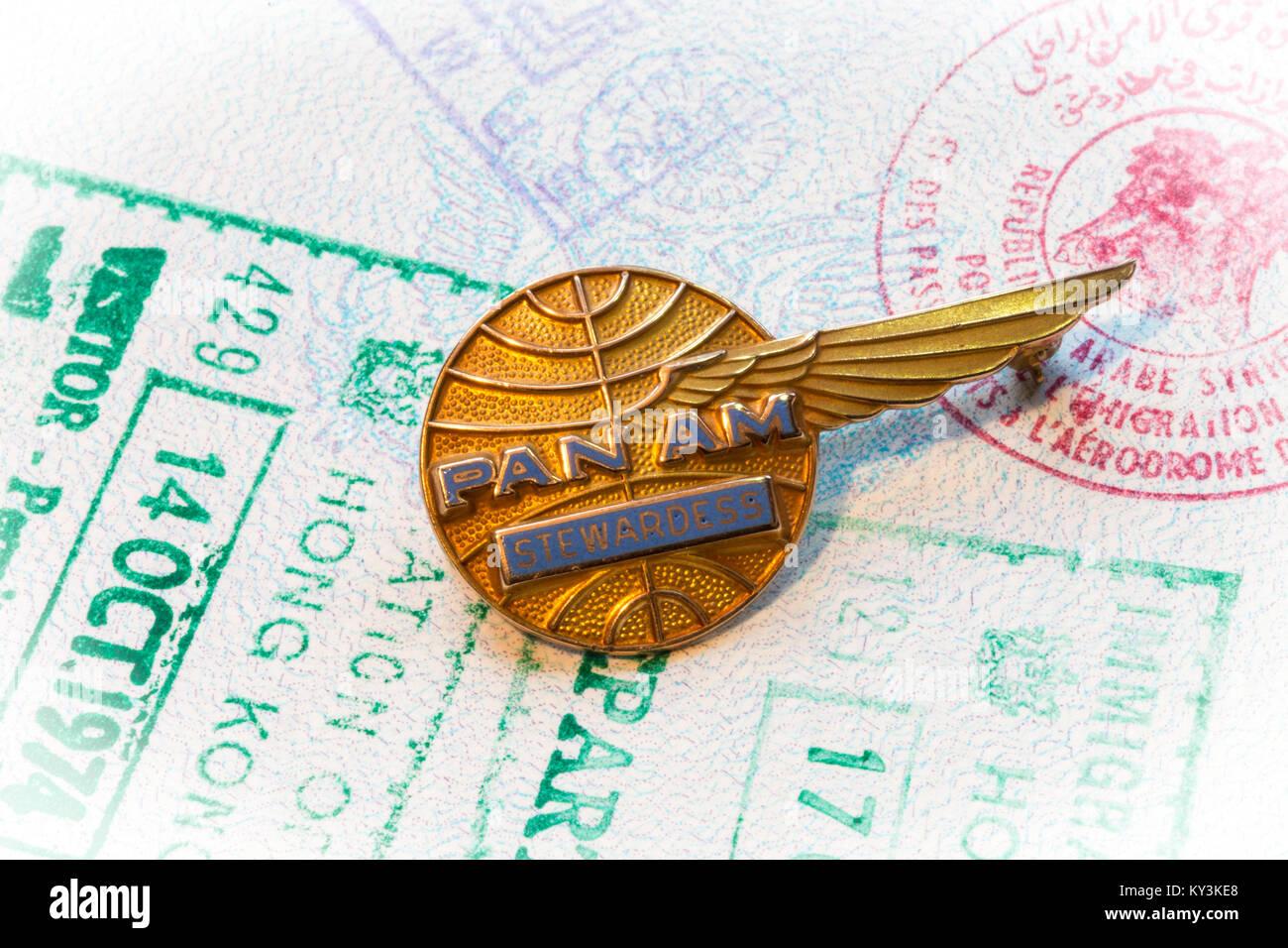 Vintage Pan American Airways Stewardess Memorabilia - Stock Image