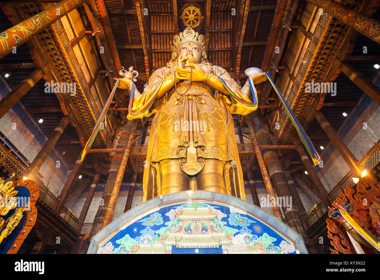 ULAANBAATAR, MONGOLIA - JULY 12, 2016: Avalokitesvara statue inside the Gandantegchinlen or Gandan Monastery. Its - Stock Image