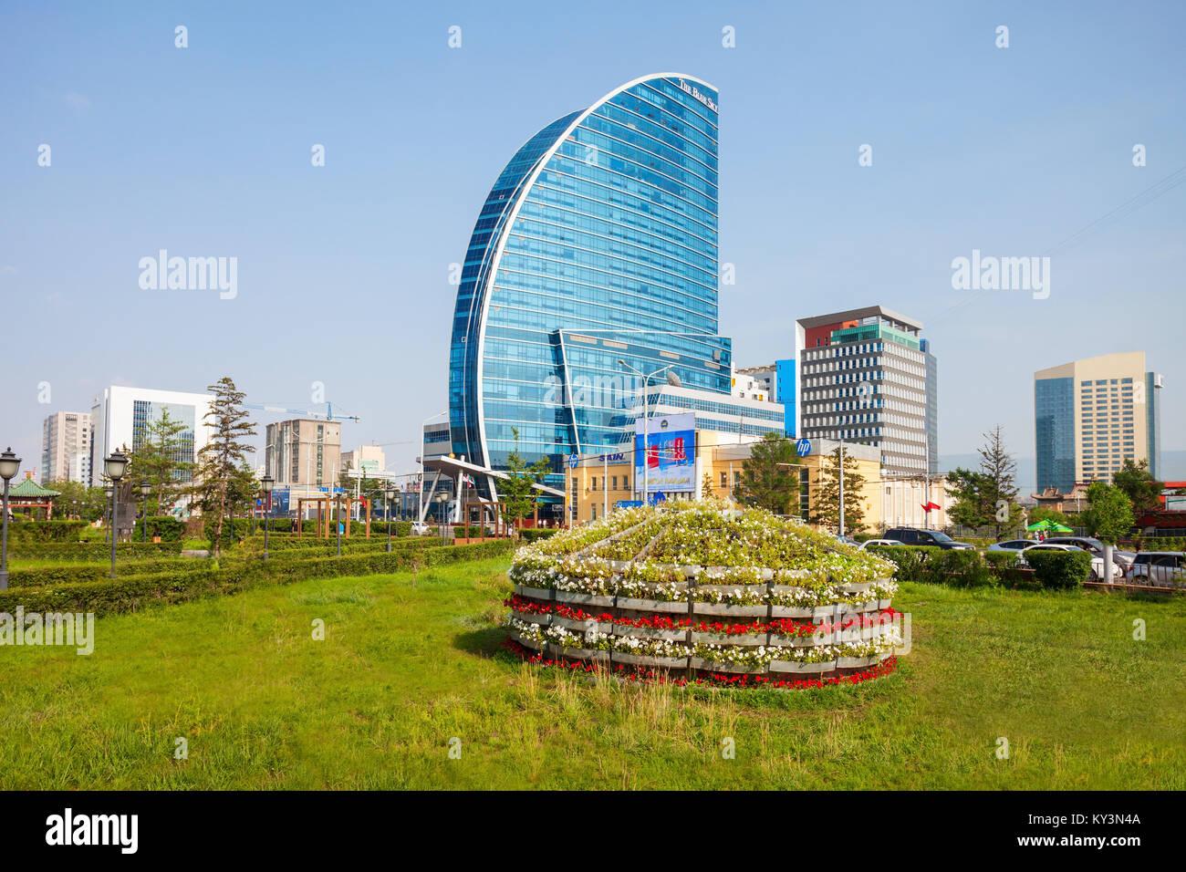 ULAANBAATAR, MONGOLIA - JULY 12, 2016: The Blue Sky Tower is located in Ulaanbaatar, Mongolia. The skyscraper is Stock Photo
