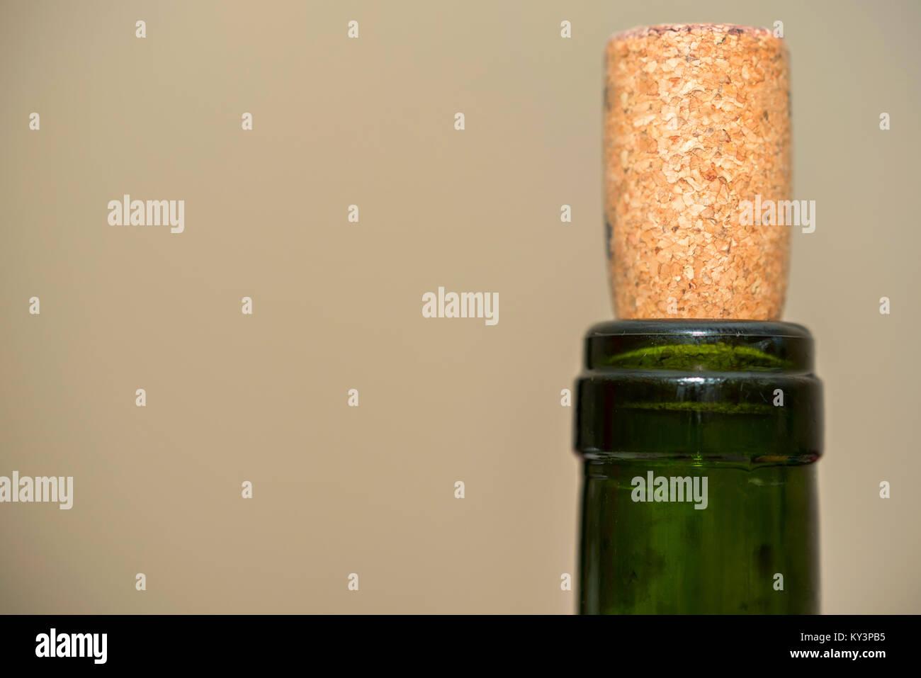 Bottleneck and cork close - Stock Image